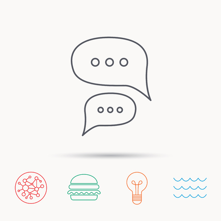 Chat icon. Comment message sign. Dialog speech bubble symbol. Global connect network, ocean wave and burger icons. Lightbulb lamp symbol. Illustration