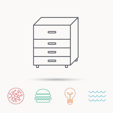 drawers: Chest of drawers icon. Interior commode sign. Global connect network, ocean wave and burger icons. Lightbulb lamp symbol.