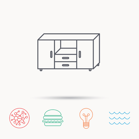 chest of drawers: Chest of drawers icon. Interior commode sign. Global connect network, ocean wave and burger icons. Lightbulb lamp symbol.