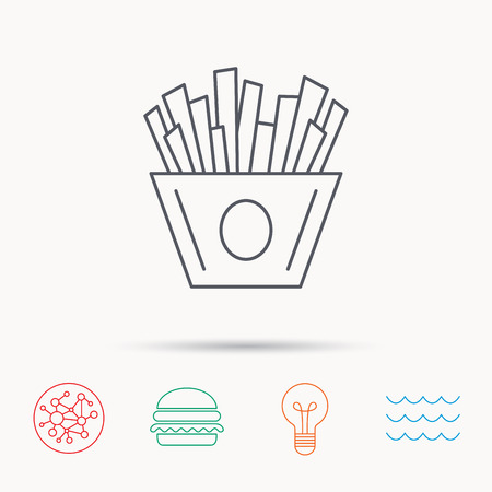 fried potatoes: Chips icon. Fries fast food sign. Fried potatoes symbol. Global connect network, ocean wave and burger icons. Lightbulb lamp symbol. Illustration
