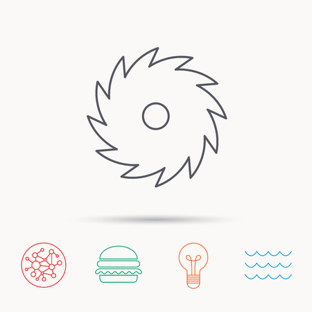 sea saw: Circular saw icon. Cutting disk sign. Woodworking sawblade symbol. Global connect network, ocean wave and burger icons. Lightbulb lamp symbol.