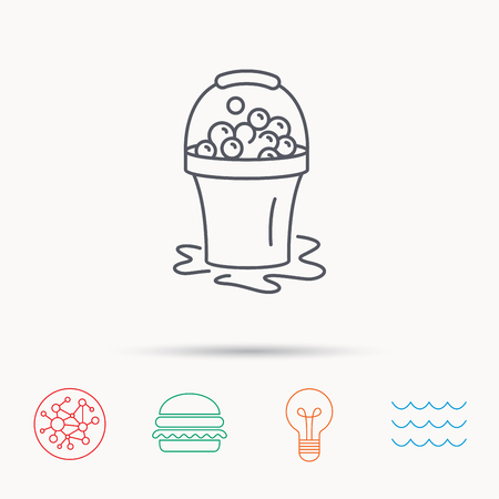soapy: Soapy cleaning icon. Bucket with foam and bubbles sign. Global connect network, ocean wave and burger icons. Lightbulb lamp symbol.