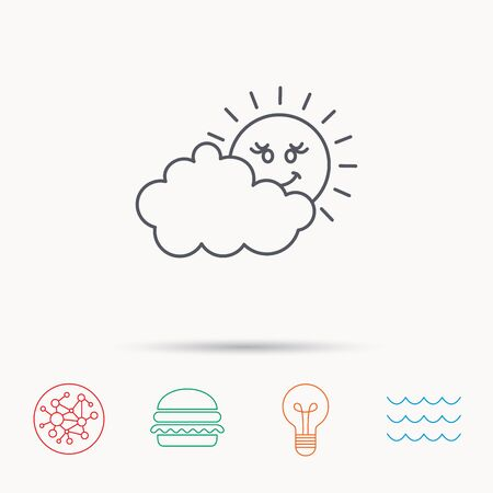 overcast: Cloudy day with sun icon. Overcast weather sign. Meteorology symbol. Global connect network, ocean wave and burger icons. Lightbulb lamp symbol.