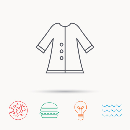 outerwear: Cloak icon. Protection jacket outerwear sign. Gardening clothes symbol. Global connect network, ocean wave and burger icons. Lightbulb lamp symbol.