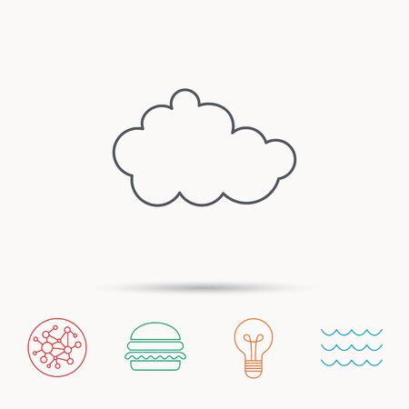nebulosidade: Cloud icon. Overcast weather sign. Meteorology symbol. Global connect network, ocean wave and burger icons. Lightbulb lamp symbol. Ilustração