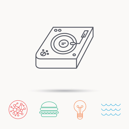 mixing: Club music icon. DJ track mixer sign. Vinyl mixing symbol. Global connect network, ocean wave and burger icons. Lightbulb lamp symbol. Illustration