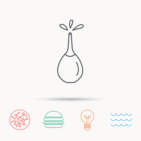 enema: Medical clyster icon. Enema with water drops sign. Global connect network, ocean wave and burger icons. Lightbulb lamp symbol. Illustration