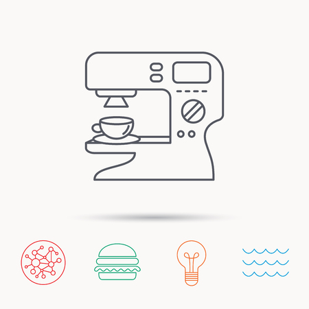 sign maker: Coffee maker icon. Hot drink machine sign. Global connect network, ocean wave and burger icons. Lightbulb lamp symbol.