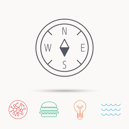 geographical: Compass navigation icon. Geographical orientation sign Global connect network, ocean wave and burger icons. Lightbulb lamp symbol. Illustration