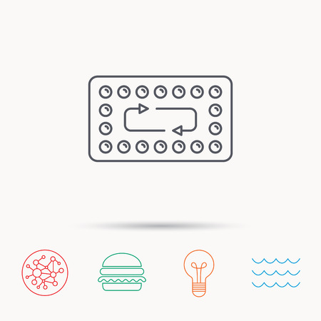 contraception: Contraception pills icon. Pharmacology drugs sign. Global connect network, ocean wave and burger icons. Lightbulb lamp symbol.