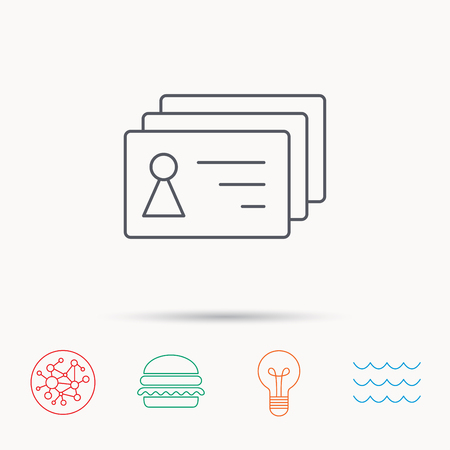 sign holder: Contact cards icon. Identification badges sign. Identity holder symbol. Global connect network, ocean wave and burger icons. Lightbulb lamp symbol.
