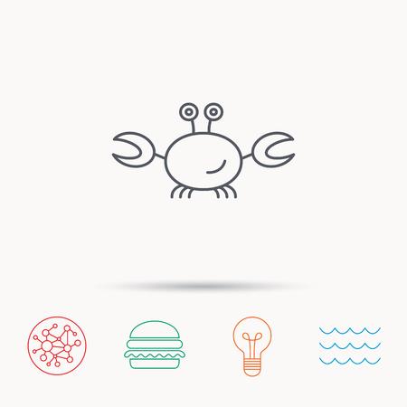 shellfish: Crab icon. Cancer shellfish sign. Wildlife symbol. Global connect network, ocean wave and burger icons. Lightbulb lamp symbol. Illustration