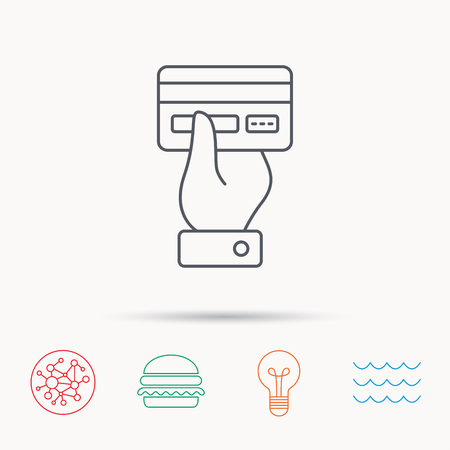 cashless: Credit card icon. Giving hand sign. Cashless paying or buying symbol. Global connect network, ocean wave and burger icons. Lightbulb lamp symbol. Illustration