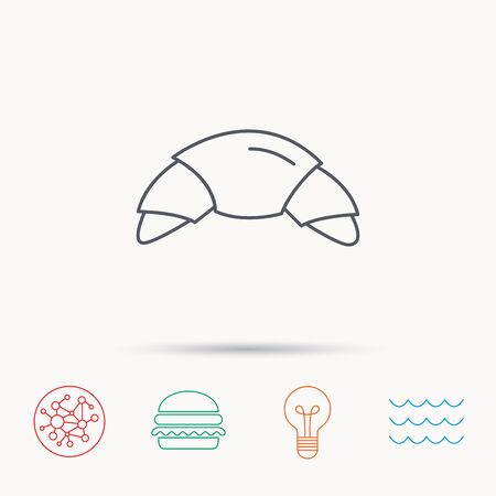 french bakery: Croissant icon. Bread bun sign. Traditional french bakery symbol. Global connect network, ocean wave and burger icons. Lightbulb lamp symbol.