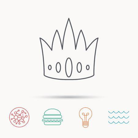vip symbol: Crown icon. Royal king hat sign. VIP symbol. Global connect network, ocean wave and burger icons. Lightbulb lamp symbol.