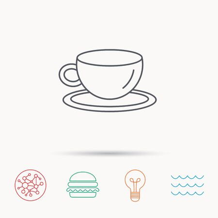 tea lamp: Coffee cup icon. Tea or hot drink sign. Global connect network, ocean wave and burger icons. Lightbulb lamp symbol.