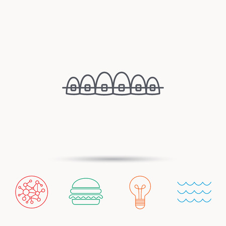 dental braces: Dental braces icon. Teeth healthcare sign. Orthodontic symbol. Global connect network, ocean wave and burger icons. Lightbulb lamp symbol.