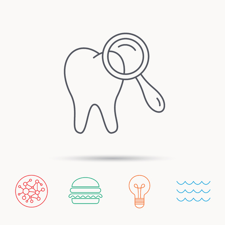 diagnostic: Dental diagnostic icon. Tooth hygiene sign. Global connect network, ocean wave and burger icons. Lightbulb lamp symbol.