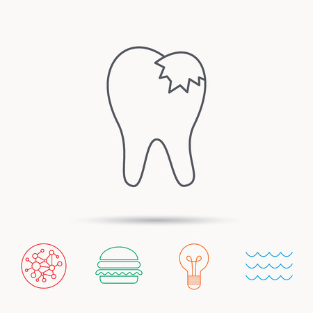 restoration: Dental fillings icon. Tooth restoration sign. Global connect network, ocean wave and burger icons. Lightbulb lamp symbol. Illustration