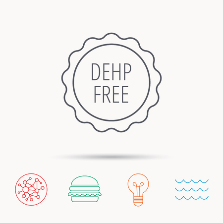 DEHP free icon. Non-toxic plastic sign. Global connect network, ocean wave and burger icons. Lightbulb lamp symbol.