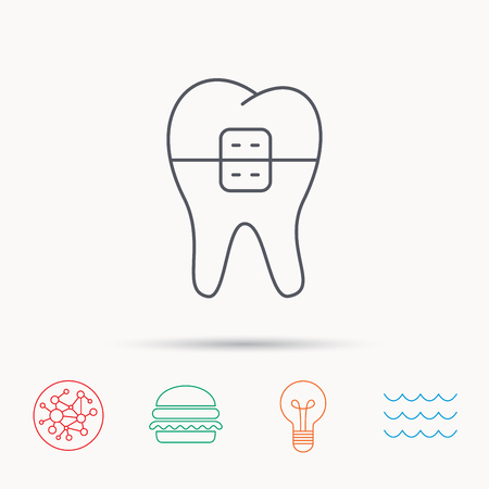 dental braces: Dental braces icon. Tooth healthcare sign. Orthodontic symbol. Global connect network, ocean wave and burger icons. Lightbulb lamp symbol.