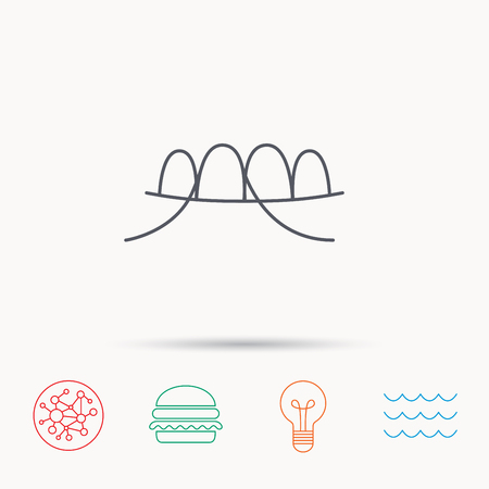 mondhygiene: Dental floss icon. Teeth cleaning sign. Oral hygiene symbol. Global connect network, ocean wave and burger icons. Lightbulb lamp symbol. Stock Illustratie
