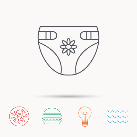 child protection: Diaper with flower icon. Child underwear sign. Newborn protection symbol. Global connect network, ocean wave and burger icons. Lightbulb lamp symbol.