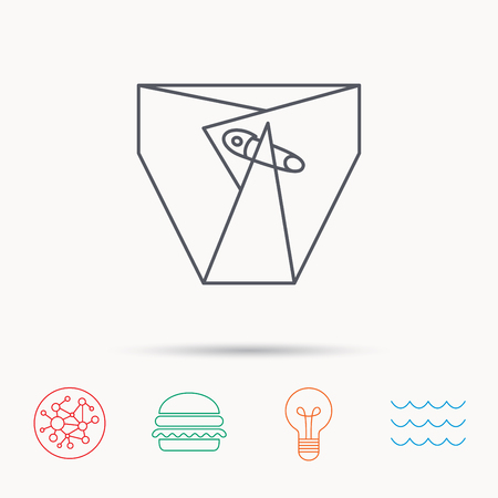 child protection: Diaper with pin icon. Child underwear sign. Newborn protection symbol. Global connect network, ocean wave and burger icons. Lightbulb lamp symbol.