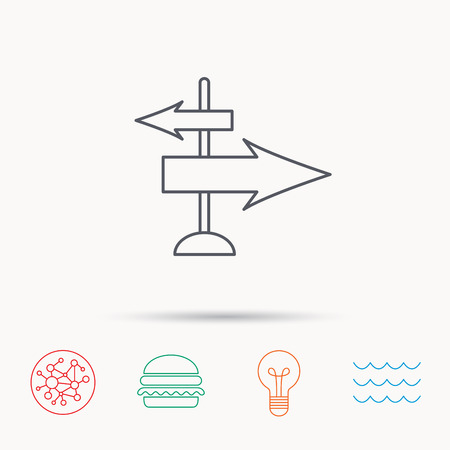 global direction: Direction arrows icon. Destination way sign. Travel guide symbol. Global connect network, ocean wave and burger icons. Lightbulb lamp symbol.