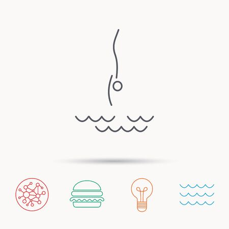 jumping into water: Diving icon. Jumping into water sign. Professional swimming sport symbol. Global connect network, ocean wave and burger icons. Lightbulb lamp symbol. Illustration