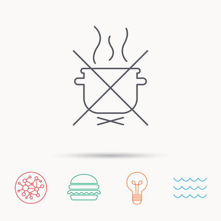 do cooking: Boiling saucepan icon. Do not boil water sign. Cooking manual attenction symbol. Global connect network, ocean wave and burger icons. Lightbulb lamp symbol.