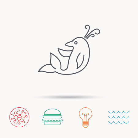 cetacean: Dolphin icon. Cetacean mammal sign. Delphinidae with fountain symbol. Global connect network, ocean wave and burger icons. Lightbulb lamp symbol. Illustration