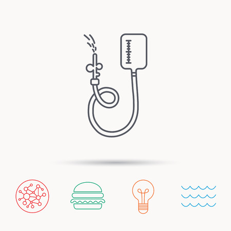medical procedure: Drop counter icon. Medical procedure sign. Global connect network, ocean wave and burger icons. Lightbulb lamp symbol. Illustration