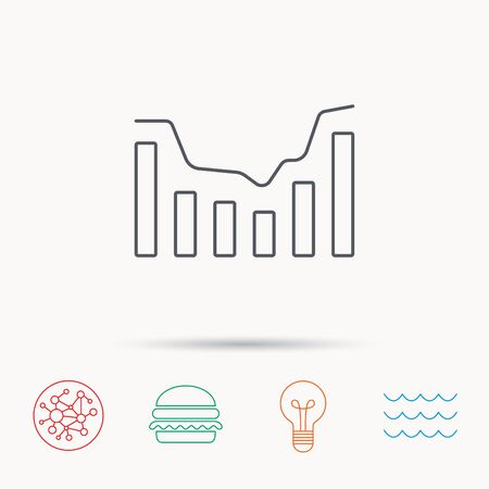 infochart: Dynamics icon. Statistic chart sign. Growth infochart symbol. Global connect network, ocean wave and burger icons. Lightbulb lamp symbol.