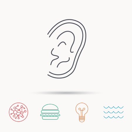 otorhinolaryngology: Ear icon. Hear or listen sign. Deaf human symbol. Global connect network, ocean wave and burger icons. Lightbulb lamp symbol.