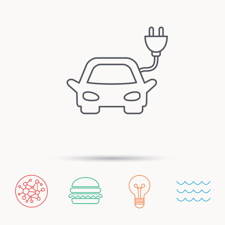 hybrid: Electric car icon. Hybrid auto transport sign. Global connect network, ocean wave and burger icons. Lightbulb lamp symbol.