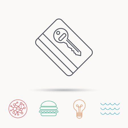 room card: Electronic key icon. Hotel room card sign. Unlock chip symbol. Global connect network, ocean wave and burger icons. Lightbulb lamp symbol. Illustration