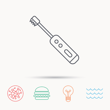 tooth cleaning: Electric toothbrush icon. Tooth cleaning sign. Global connect network, ocean wave and burger icons. Lightbulb lamp symbol. Illustration