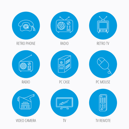 pc case: Radio, TV remote and video camera icons. Retro phone, PC case and mouse linear signs. Blue circle buttons set. Linear icons. Illustration