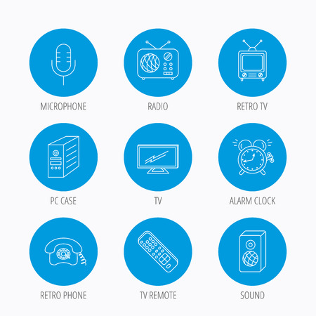 electric blue: TV remote, retro phone and radio icons. PC case, microphone and alarm clock linear signs. Blue circle buttons set. Linear icons.