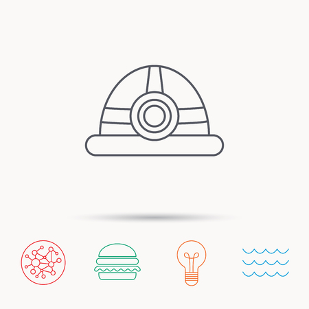 Engineering icon. Engineer or worker helmet sign. Global connect network, ocean wave and burger icons. Lightbulb lamp symbol.