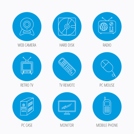 pc case: Web camera, radio and mobile phone icons. Monitor, PC case and TV remote linear signs. Hard disk and PC mouse icons. Blue circle buttons set. Linear icons.