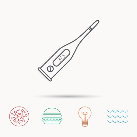 termometer: Electronic thermometer icon. Measurement tool sign. Temperature control symbol. Global connect network, ocean wave and burger icons. Lightbulb lamp symbol.