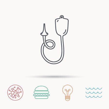 einlauf: Enema-Symbol. Medical Klistier Zeichen. Global Connect Netzwerk, Ozeanwelle und Burger-Icons. Glühbirne Lampe-Symbol.