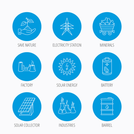 solar collector: Solar collector energy, battery and oil barrel icons. Minerals, electricity station and factory linear signs. Industries, save nature icons. Blue circle buttons set. Linear icons.