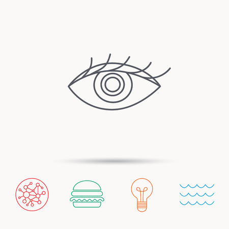 ophthalmology: Eye icon. Human vision sign. Ophthalmology symbol. Global connect network, ocean wave and burger icons. Lightbulb lamp symbol.