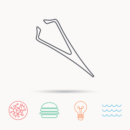 aesthetic: Eyebrow tweezers icon. Cosmetic equipment sign. Aesthetic beauty symbol. Global connect network, ocean wave and burger icons. Lightbulb lamp symbol.