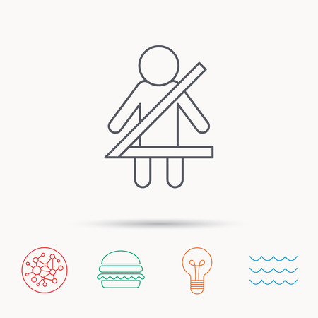 fasten: Fasten seat belt icon. Human silhouette sign. Global connect network, ocean wave and burger icons. Lightbulb lamp symbol. Illustration
