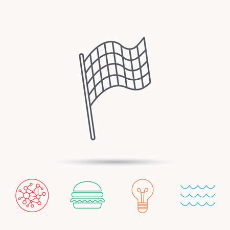 winning location: Finish flag icon. Start race sign. Global connect network, ocean wave and burger icons. Lightbulb lamp symbol. Illustration