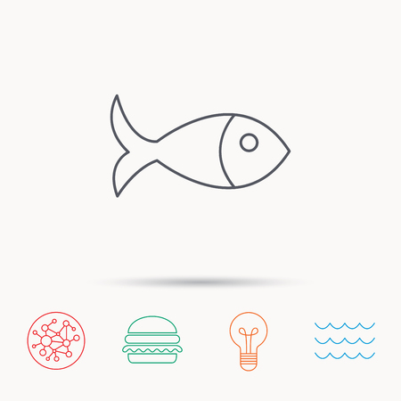 aquaculture: Fish icon. Seafood sign. Vegetarian food symbol. Global connect network, ocean wave and burger icons. Lightbulb lamp symbol. Illustration